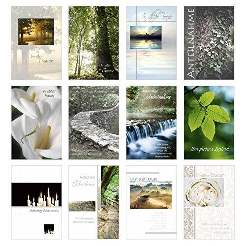Set 24 einfühlsame Trauerkarten (12 x 2) / Beileidskarten mit Umschlag. Trauerkarte Beileidskarte mit Spruch schreiben (Doppelkarten/Klappkarten)