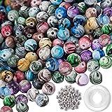 Outuxed 500 Stück 8mm Lose perlen Acrylperlen Rund Perlen Multi Farben Perlen in Tinte Muster mit 50 Stück Spacer Perlen und 1 Rolle Kristall String für Armbänder Schmuckherstellung