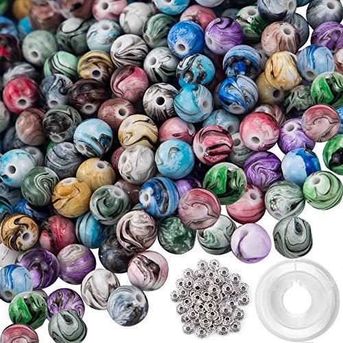 mm Lose perlen Acrylperlen Rund Perlen Multi Farben Perlen in Tinte Muster mit 50 Stück Spacer Perlen und 1 Rolle Kristall String für Armbänder Schmuckherstellung ()