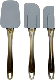 AmazonBasics Silicone Spatula Set, 3-Pieces, Grey