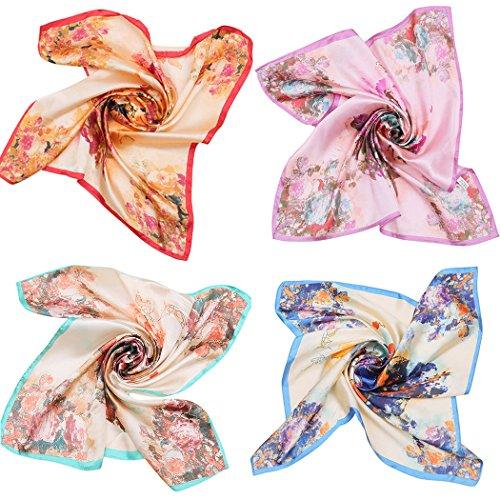 Square Schal, Fascigirl 4Pcs Neck Schal Floral Bedruckte Halstuch für Frauen (Floral Square-neck)