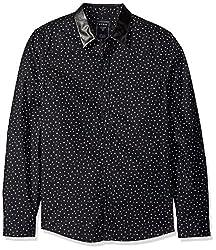 GUESS Mens Greystone Print Shirt, Greystone Geo/Jet Black, M