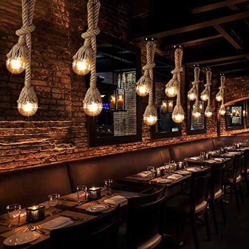LEDMOMO L/ámpara de C/á/ñamo L/ámpara Cuerda Vintage R/ústico la decoraci/ón de Comedor Restaurante 1 M