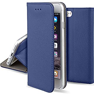 Moozy Hülle Flip Case für iPhone 5s / iPhone SE, Dunkelblau - Dünne magnetische Klapphülle Handyhülle mit Standfunktion