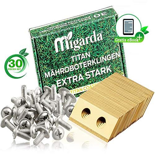 Migarda - Worx Landroid Messer - 30x - Hochwertige Titan-Klingen & verbesserte Schrauben Set für max. Langlebigkeit - Mäh-Roboter Ersatzmesser Ersatzteile Zubehör | inkl. eBook