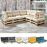 [en.casa] Set de 3 cojines para sofá-palé - cojín de asiento + cojines de respaldo acolchados [beige] para...