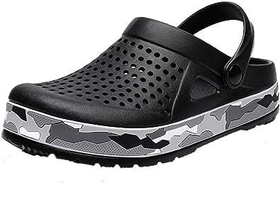 Men's Clogs Lightweight Breathable Mesh Slippers Mules Sandals for Garden,Kitchen,Beach Black