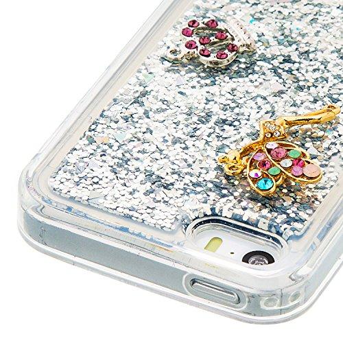 Flüssiges Case Ultra Thin Dünn TPU Silikon Schutzhülle für iPhone 5/5S/SE 3D Kreative Liquid Handyhülle Durchsichtig Rückseite Tasche Glitter Shiny Kristall Klar Handytasche Sparkle Dynamisch Treibsan A04