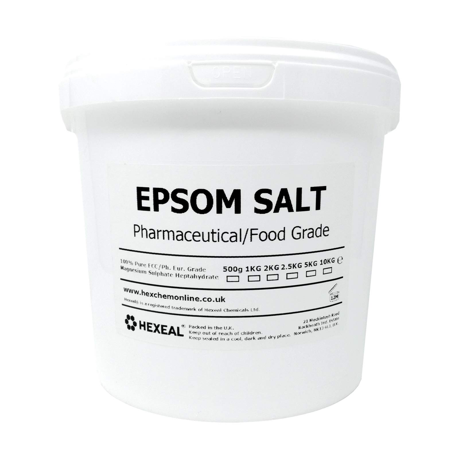 Hexeal EPSOM SALT | 5KG BUCKET | 100% Pharmaceutical | FCC Food Grade | Magnesium Sulphate