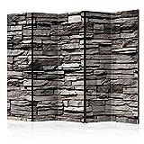 murando - Raumteiler Stein-Optik - Foto Paravent 225x172 cm - beidseitig auf Vlies-Leinwand bedruckt - Blickdicht & Textile Haptik - Trennwand - Spanische Wand - Sichtschutz - Raumtrenner - Deko - Design - grau f-B-0020-z-c