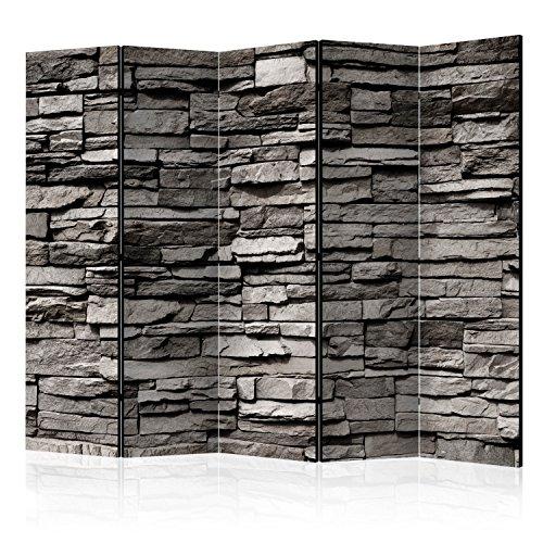 *murando Raumteiler Stein-Optik Foto Paravent 225×172 cm einseitig auf Vlies-Leinwand Bedruckt Trennwand Spanische Wand Sichtschutz Raumtrenner grau f-B-0020-z-c*