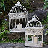 Gardensity ® Set Of 2 Square Bird Cage Vintage Victorian Style Outdoor Indoor Garden White Shabby-Chic Rustic Look Square Bird Cages Planters Tea light Holder Model (2823BIRD726154)