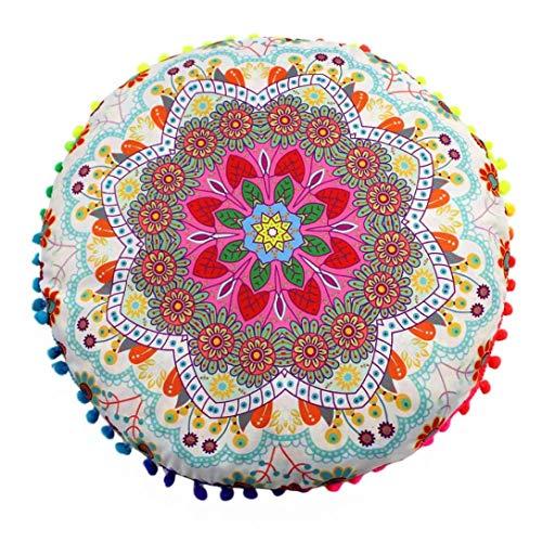 JiaMeng Almohadas de Piso Mandala Indio de Colorido Otoño Flor Árbol de Algodón Throw Pillow Case Funda de Almohada para cojín (D)