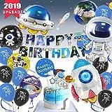 Geburtstagsdeko für Kinder, Weltraum Geburtstag Party Dekoration Astronauten Raumschiff Raketen Folienballon, Happy Birthday UFO Banner Weltraum Kuchen Topper mit 4D Erde Astronauten Latexballons