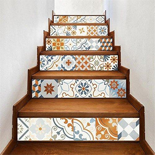 PLYY Schritt Aufkleber 3D Treppenhaus Aufkleber skandinavischen Stil Farbe Creative Treppe Aufkleber Home Dekorpapier Aufkleber Aufkleber Papier Vinyl abnehmbar 6 pcs