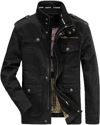 Men's Classic Jacket Pure Cotton Military Jacket Multi-Pocket Casual Coat…