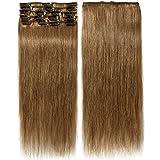 Clip In Extensions Echthaar Hellbraun 100% Remy Echthaar Haarverlängerung 8 Tressen (40cm-65g)