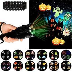 Xigeapg Linterna Luz De Proyector Led, Luces De Proyector De Mano De Navidad De Batería Con 12 Diapositivas De Patrón Y Trípode Para Halloween Pascua Decoración De Cumplea?os Regalo