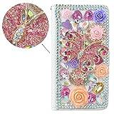 SpritechTM 3D multicolor hecho a mano de diamante rosa de mariposa Love Flores y decorar Blanco Funda de piel, PT-1, Samsung Galaxy S7 Edge