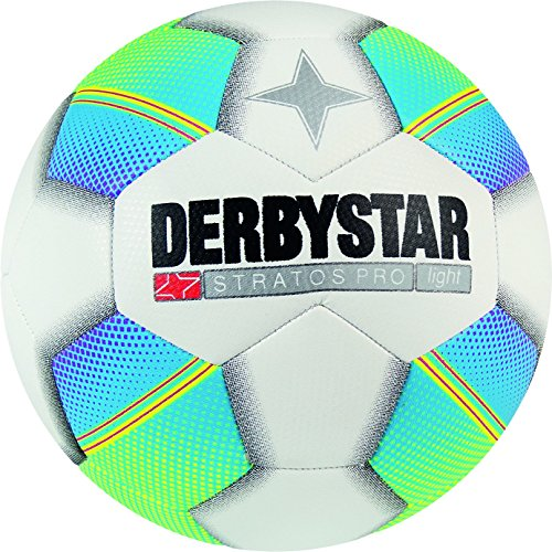 Derbystar Fußball Stratos Pro Light, Kinder Trainingsball, Ball Größe 5 (350 g), Weiß Blau Gelb, 1126