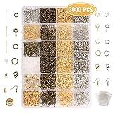 Jeteven 3000tlg Schmuck Basteln Zubehör Schmuckherstellung Kit Accessoires Set für Ohrringe Armband Halskette DIY Anfänger, Bronze Silber Gold, inkl.Verpackungskasten, Schutzring, OPP-Tasche
