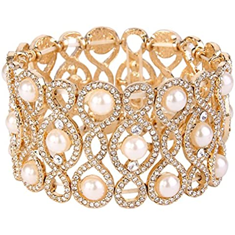 EVER FAITH® En forma de cristales de azúcar crema simulado tramo brazalete de perlas de las mujeres Claro dorado del