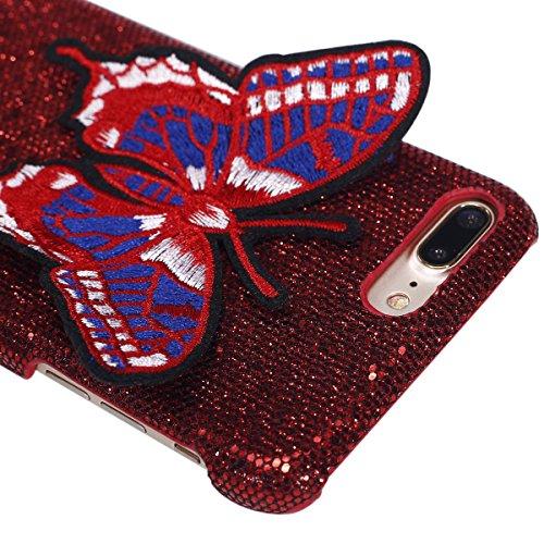 Felfy iPhone 7 Plus Schutz,iPhone 7 Plus Hülle Ultra Dünne High Quality Case Plastic Hülle Cover Schutzhülle Backcover iPhone 7 Plus Schale de Protection Case Cas [Schmetterling Stickerei + Bling Pail Schmetterling Rote