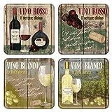 Nostalgic-Art 46012 Open Bar - Vino Rosso & Bianco, Untersetzer-Set (4teilig)