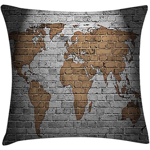 Throw Pillow Wanderlust Cushion Cover, World Map Old Brick Wall Countries Continents Creative Aged Vintage Rough, Decorative Square Accent Pillow Case, Brown and Grey Size:16X16 Inches/40X40cm -