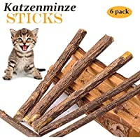 6 Matatabi Katzenminze Sticks Katzenspielzeug - Zahnpflege Silvervine Katzen Stick Bio Natürliche Zahnpflege Helfen bei Zahnstein & Mundgeruch für Katzen Zahnpflege Spielzeug