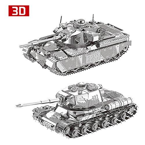 2pcs MTu 3D Metall Puzzle MK50 Panzer JS-2 Panzer Tank Modell DIY 3D Laserschnitt Modell-Bausatz Spielzeug