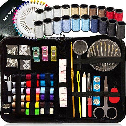 Nähset anfänger , über 130 Premium Nähzubehör, 38 Faden - 20 nützliche Farben & 18 mehrfarbige, extra 40 hochwertige Nähstifte & 3 nützliche Clips, Mini Travel Nähzeug, Notfall (Rv-band-fall)