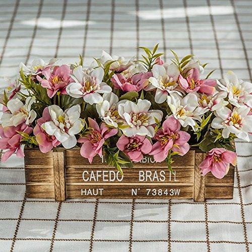 Flinfeays fiori artificiali fiori finti staccionata in legno creativo regali di festa fai da te festa di matrimonio cucina fiori per la casa decorazione di legno vasi molto realistiche -40