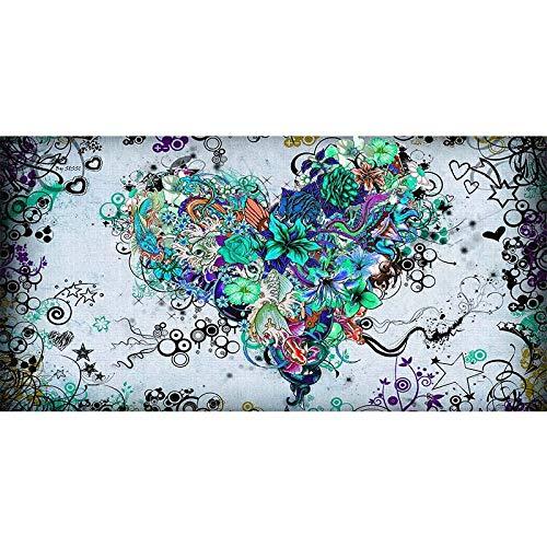 RTCKF Quadro su Tela Cuore e Fiore Arte Astratta Pittura murale Pittura murale Moderna Decorazione Soggiorno di Grandi Dimensioni (Senza Cornice) A3 60x120 CM