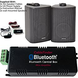 Wireless/Bluetooth Amplifier & 2x 60W Black Pair Wall Mounted Speaker Kit -HiFi Active Amp - Stream Audio Quality Background Music Home System