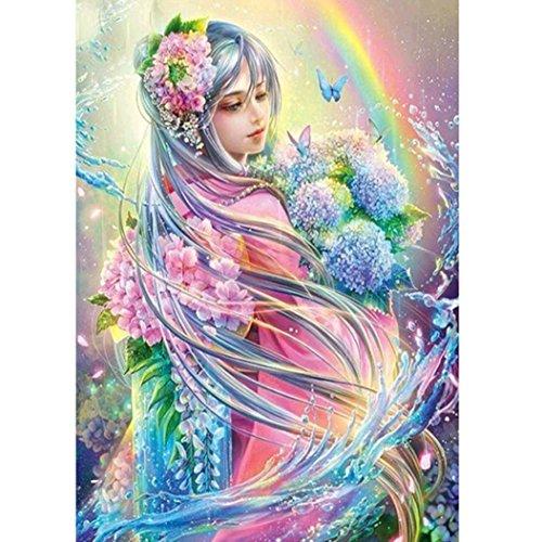 IGEMY Malen Nach Nummer Kit für Erwachsene ➽Elf Mädchen Unter Dem Regenbogen Europäischer Stil Ölgemälde 40x30cm (Göttin der Träume)