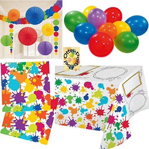 Künstler-Party Pinsel Kleckse Partyset 37tlg.Servietten 2 Tischdecken Dekoration Luftballons (Geburtstag Dekorationen Künstler Party)