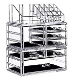 display4top Schmuck Aufbewahrungsbox Acryl Cosmetics Lipsticks Make-up-Organizer Halter Box (7 Schubladen transparent)