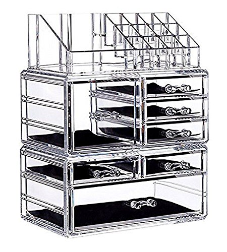 Display4top Jewellery Storage Box Acrylic Cosmetics organiser Lipsticks Makeup Organizer Holder Box (7 Drawers Clear)