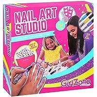 GirlZone Cadeau Fille - Nail Art Studio - Décoration pour Les Ongles - Maquillage pour Enfants - Coffret Maquillage Enfant - Coffret Nail Art - Loisir Créatif Fille 4 à 11 Ans