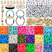 Tiokkss 5000 Pcs Clay Beads for Jewelry Making with 234 pcs Letter Beads for Bracelets Making Kit Included 18