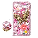 spritech (TM) 3D Handmade Bling Pink Diamond Design Case Luxus PU Leder Wallet Case Flip Cover Mit Kreditkartenfächer Und Aufstellfunktion, Color-65, Samsung Galaxy S6