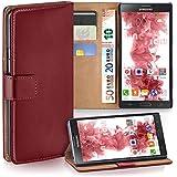 Samsung Galaxy Note 3 Neo Hülle Dunkel-Rot mit Karten-Fach [OneFlow 360° Book Klapp-Hülle] Handytasche Kunst-Leder Handyhülle für Samsung Galaxy Note 3 Neo Case Flip Cover Schutzhülle Tasche