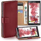 MoEx Samsung Galaxy Note 3 Neo Hülle Dunkel-Rot mit Karten-Fach [OneFlow 360° Book Klapp-Hülle] Handytasche Kunst-Leder Handyhülle für Samsung Galaxy Note 3 Neo Case Flip Cover Schutzhülle Tasche