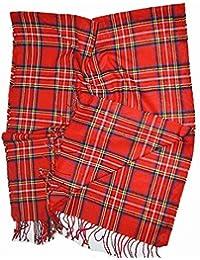 Nice Extra large red Scottish Stuart Tartan Plaid shawl scarf