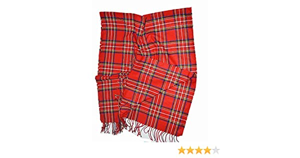 KGM Accessories Nice Extra Large Rouge écossais Stuart Tartan Plaid Châle  Écharpe  Amazon.fr  Jardin c18640dc564
