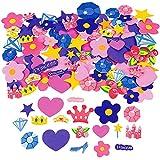 Elfen und Zwerge 2 Bögen (90 Sticker) Moosgummi Prinzessin Aufkleber Krone Zauberstab Diamant Stern Herz Rose Prinzessinnenparty