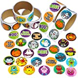 Kicko Halloween Sticker Roll for Kids - 500 Pcs Assorted Spooky Sheets - Party Favors, Game Prizes, Novelty Toys, Wall Decals, Creative Scrapbooks, Personalized Arts and Crafts