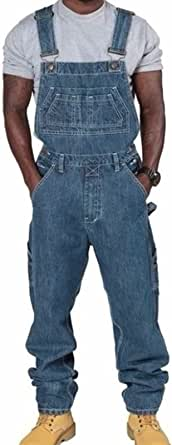 keepwo Men's Loose Fit Denim Work Bib Mens Cargo Adjustable Dungarees Multiple Pockets Chic Overalls Rompers