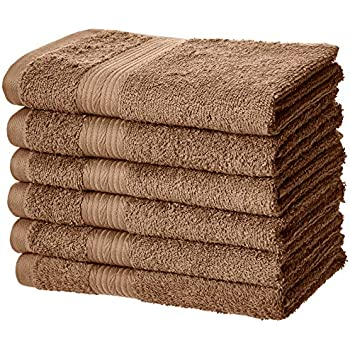 AmazonBasics Fade-Resistant Cotton Hand Towel - Pack of 6, Acorn